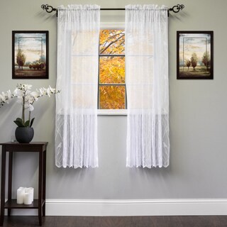 White/Ivory 56-inch x 63-inch Knit Lace Bird Motif Window Curtain Panel - 56 x 63