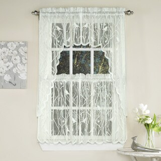 Ivory Knit Lace Bird Motif Window Treatments (3 options available)