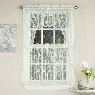 Ivory Knit Lace Bird Motif Window Treatments