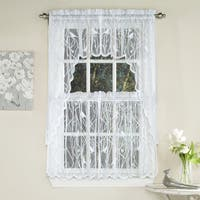White Knit Lace Bird Motif Window Curtain Tiers, Valance and Swag Pair Options