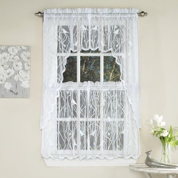 White Knit Lace Bird Motif Window Curtain Tiers Valance