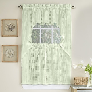 Cream Tone on Tone Raised Micro-Check Semi-Sheer Window Curtain Pieces - Tiers, Valance and Swag Options