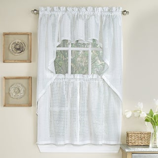 White Polyester Tone-on-tone Raised Micro-Check Semi-Sheer Window Curtain Pieces