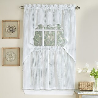White Tone-on-tone Raised Micro-Check Semi-Sheer Window Curtain Pieces