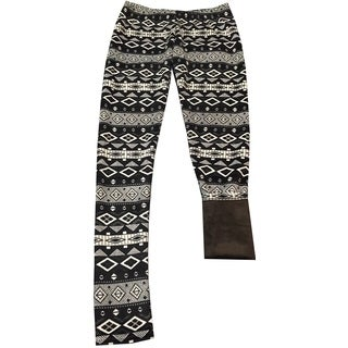 Riviera Girls' Black Polyester/Spandex Faux Fur Lined Lounge Pants