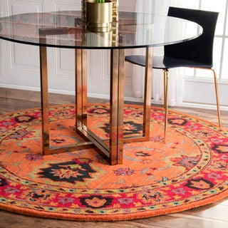 nuLOOM Handmade Overdyed Traditional Orange Wool Rug (8' Round)