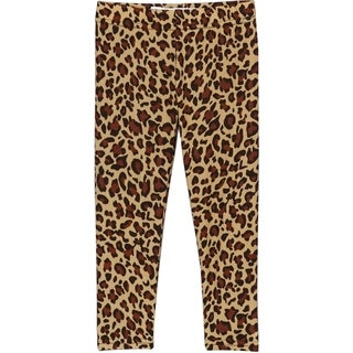 Girls' Brown Polyester Printed Leggings