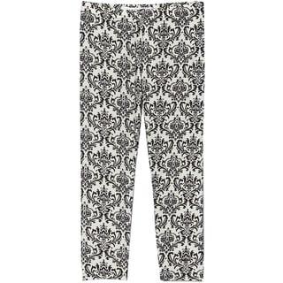 Riviera Girls' Black/White Polyester/Spandex Printed Leggings