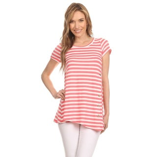 MOA Collection Women's Spandex/Rayon Striped Short-sleeve Tunic Top