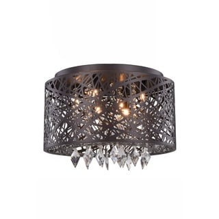 Elegant Lighting Finley 16-inch Pendant/Flush Mount with Brown Finish and Crystal