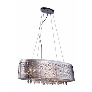 Elegant Lighting Finley 32-inch Pendant/Flush Mount with Chrome Finish and Crystal