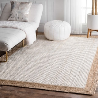 nuLOOM Alexa Eco Natural Fiber Braided Reversible Border Jute White Rug (3' x 5')