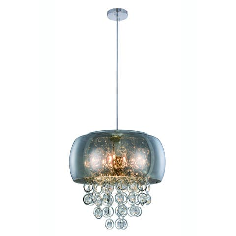 Elegant Lighting Jordan 19-inch Pendant Lamp with Chrome Finish and Crystal