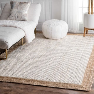 nuLOOM Alexa Eco Natural Fiber Braided Reversible Border Jute White Rug (4' x 6')