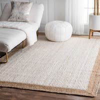 The Gray Barn Cinch Buckle Braided Reversible White Jute Area Rug (4' x 6')