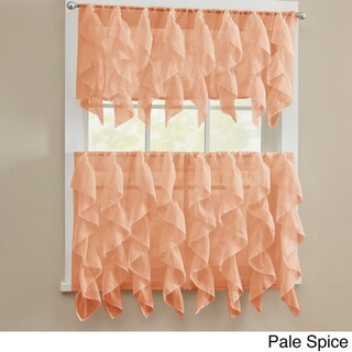 Chic Sheer Voile Vertical Ruffled Tier Window Curtain Valance or Tier