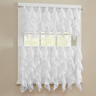 Chic Sheer Voile Vertical Ruffled Tier Window Curtain Valance and Tier