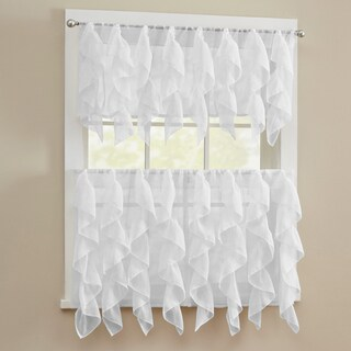 Chic Sheer Voile Vertical Ruffled Tier Window Curtain Valance and Tier (More options available)