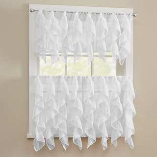 Chic Sheer Voile Vertical Ruffled Tier Window Curtain Valance Or