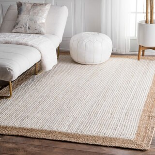 The Gray Barn Cinch Buckle Braided Reversible White Jute Area Rug - 5' x 8'
