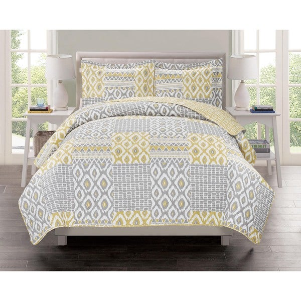 Lavish Home Collection Atlas Printed Quilt Set