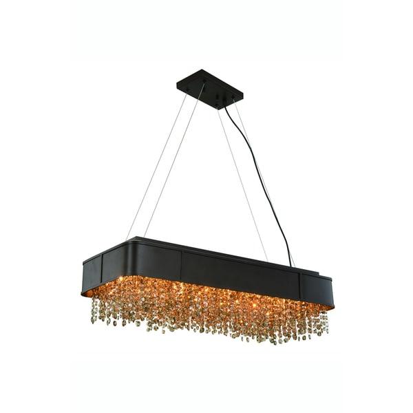 Elegant Lighting Regency 32-inch Pendant/Flush Mount with Matte Brown Finish and Golden Teak Crystal