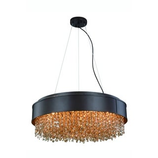 Elegant Lighting Regency 24-inch Round Pendant/Flush Mount with Matte Brown Finish and Golden Teak Crystal