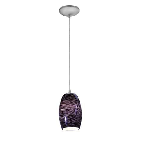 Porch & Den Aubergine Purple Swirl Glass/ Steel 12-inch Rod Pendant