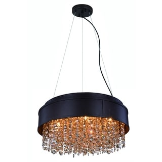 Elegant Lighting Regency 16-inch Round Pendant/Flush Mount with Matte Brown Finish and Golden Teak Crystal