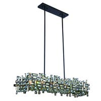 Elegant Lighting Picasso 44-inch Pendant Lamp with Bronze Finish and Golden Teak Crystal