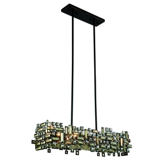 Elegant Lighting Picasso 35-inch Pendant Lamp with Bronze Finish and Golden Teak Crystal