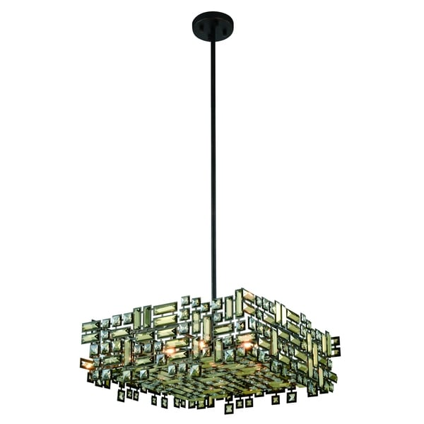 Elegant Lighting Picasso 24-inch Pendant Lamp with Bronze Finish and Golden Teak Crystal