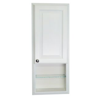 WG Wood Products Barbados White Recessed Enamel Finished 36-inch Medicine Storage Cabinet With 12-inch Open Shelf