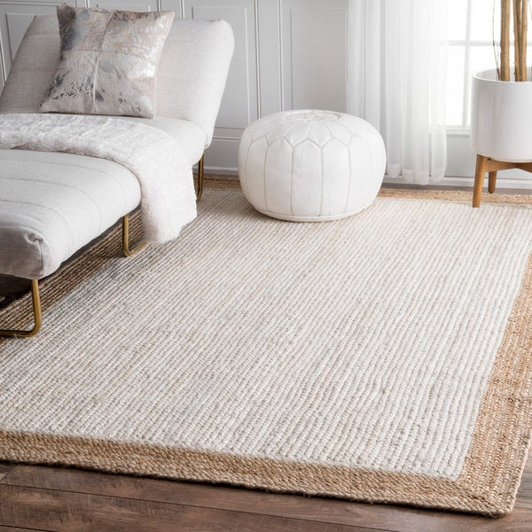 nuLOOM Alexa Eco Natural Fiber Braided Reversible Border Jute White Rug (8' x 10') - Free ...
