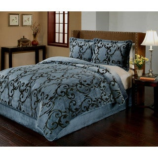 Provence Velvet Plush Print 3-piece Comforter Set