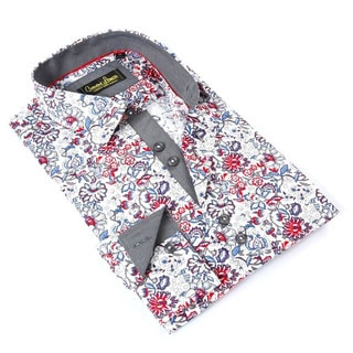 Banana Lemon Men's Red/Blue Cotton Floral Button-down Shirt