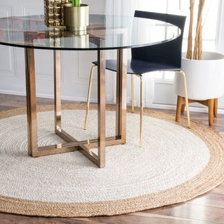 nuLOOM Alexa Eco Natural Fiber Braided Reversible Border Jute White Rug (8' Round)