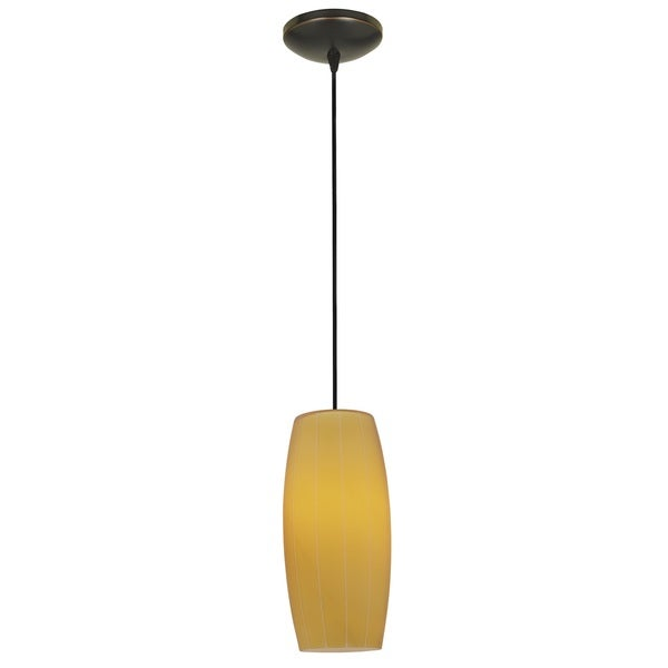 Access Lighting Cognac Bronze Fluorescent Cord Pendant with Amber Shade