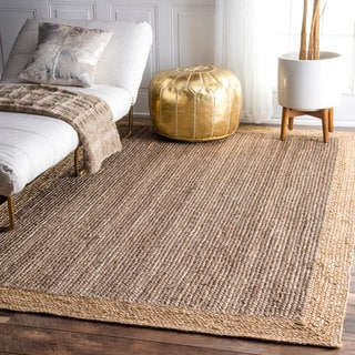 nuLOOM Alexa Eco Natural Fiber Braided Reversible Border Jute Grey Rug (3' x 5')