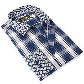 Banana Lemon Men's Blue Cotton Patterned Button-down Shirt (5 options available)