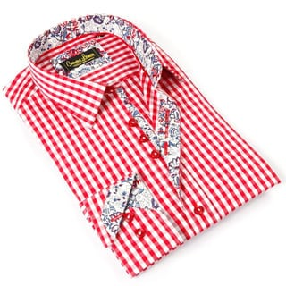 Banana Lemon Men's Red Cotton Patterned Button-down Shirt