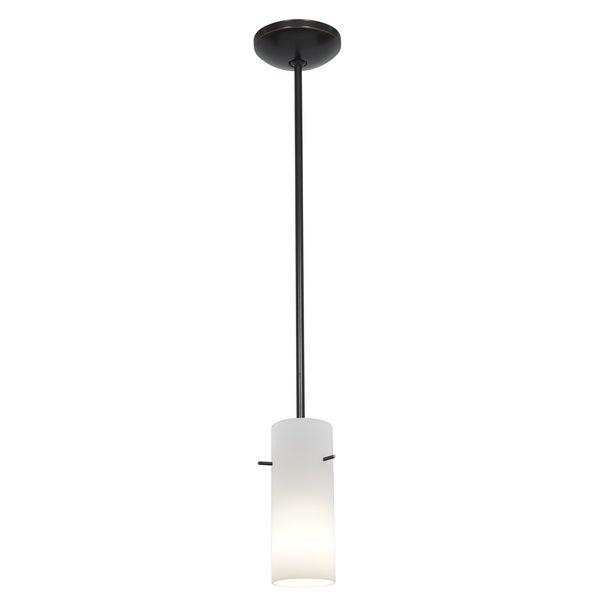 Access Lighting Cylinder Bronze Rod Pendant with Opal Shade