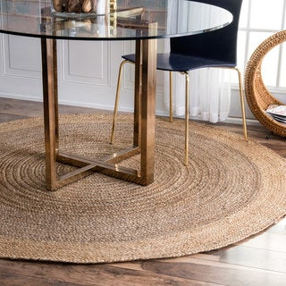 nuLOOM Alexa Eco Natural Fiber Braided Reversible Border Jute Grey Rug (6' Round)