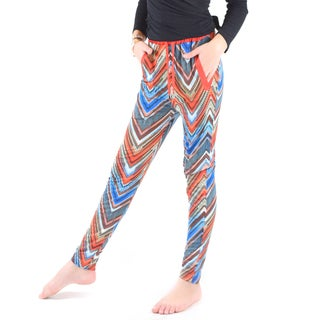 Dinamit Girls Multicolor Polyester/Spandex Zigzag Printed Jogger Pants
