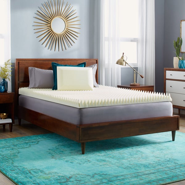 Slumber Solutions 4-inch Highloft Memory Foam topper with Classic Pillow. Opens flyout.