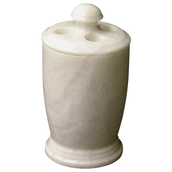 Nature Home Decor Atlantic Collection White Marble Toothbrush Holder