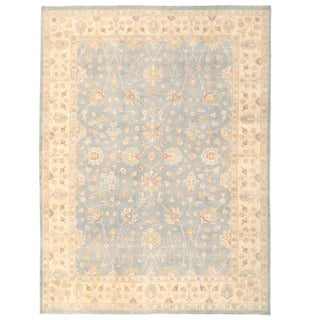 Herat Oriental Afghan Hand-knotted Oushak Light Blue/ Ivory Wool Rug (9'11 x 13'4)