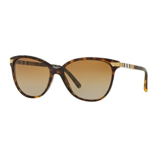 Burberry Women's BE4216 3002T5 Havana Plastic Cat Eye Sunglasses
