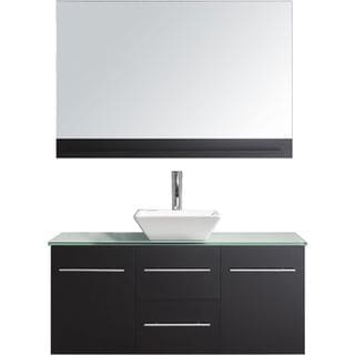 Virtu USA Marsala 48-inch Single Glass Top Bathroom Vanity Set