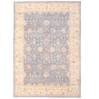 Herat Oriental Afghan Hand-knotted Oushak Blue/ Ivory Wool Rug (9'10 x 14'2)